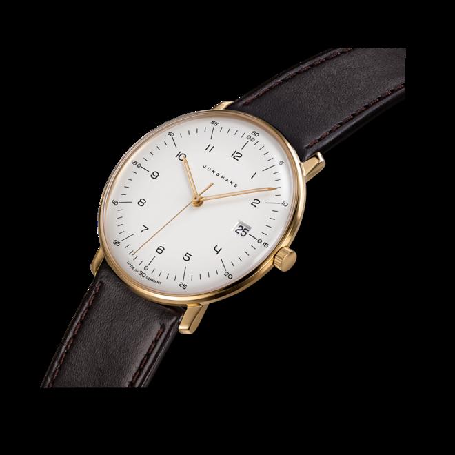 Herrenuhr Junghans Max Bill Quarz Gold mit weißem Zifferblatt und Kalbsleder-Armband bei Brogle