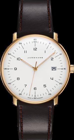 Herrenuhr Junghans Max Bill Quarz Gold mit weißem Zifferblatt und Kalbsleder-Armband