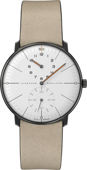 Herrenuhr Junghans Max Bill Regulator Edition 60 mit weißem Zifferblatt und Kalbsleder-Armband