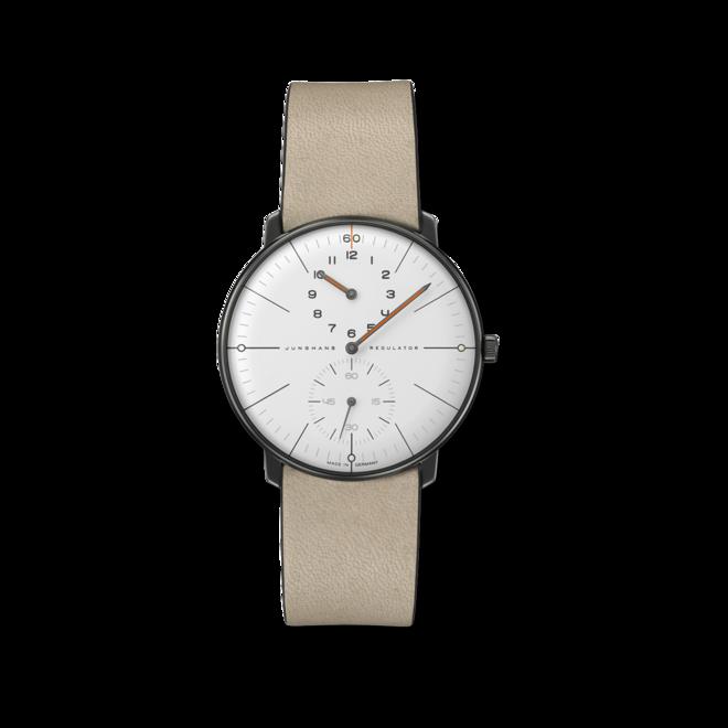 Herrenuhr Junghans Max Bill Regulator Edition 60 mit weißem Zifferblatt und Kalbsleder-Armband bei Brogle