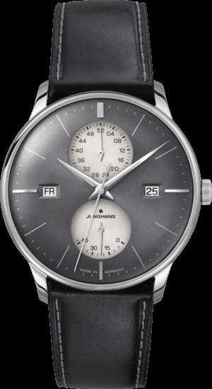 Herrenuhr Junghans Meister Agenda mit grauem Zifferblatt und Pferdeleder-Armband