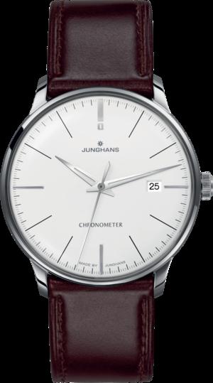 Herrenuhr Junghans Meister Chronometer mit weißem Zifferblatt und Pferdeleder-Armband