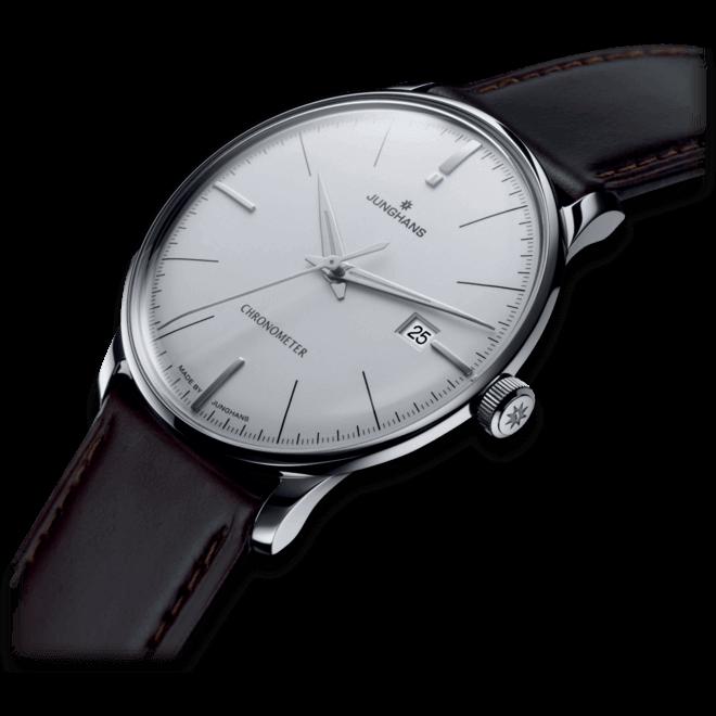 Herrenuhr Junghans Meister Chronometer mit weißem Zifferblatt und Pferdeleder-Armband bei Brogle