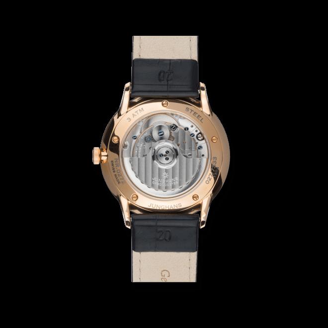 Herrenuhr Junghans Meister Chronometer mit weißem Zifferblatt und Alligatorenleder-Armband