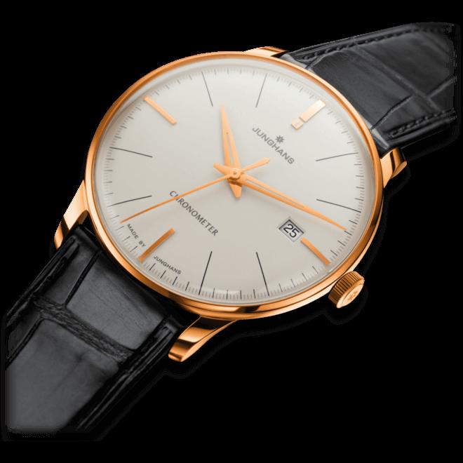 Herrenuhr Junghans Meister Chronometer Gold mit elfenbeinfarbenem Zifferblatt und Alligatorenleder-Armband