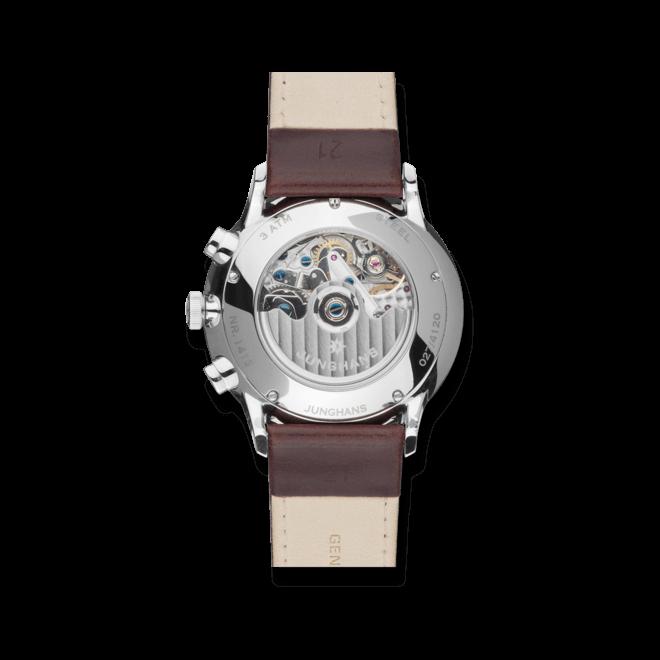 Herrenuhr Junghans Meister Chronoscope mit silberfarbenem Zifferblatt und Pferdeleder-Armband bei Brogle