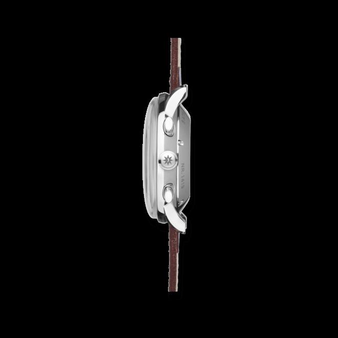 Herrenuhr Junghans Meister Chronoscope mit silberfarbenem Zifferblatt und Pferdeleder-Armband