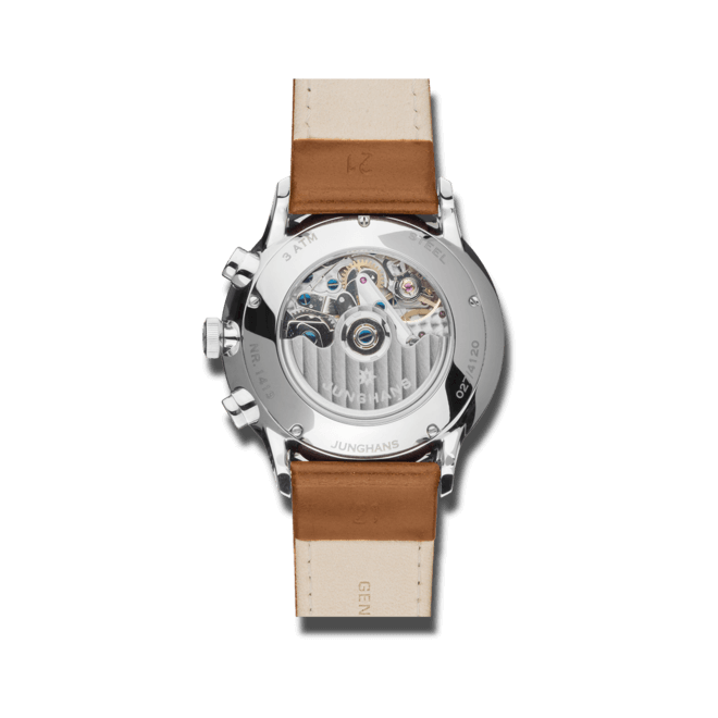 Herrenuhr Junghans Meister Chronoscope mit blauem Zifferblatt und Pferdeleder-Armband bei Brogle