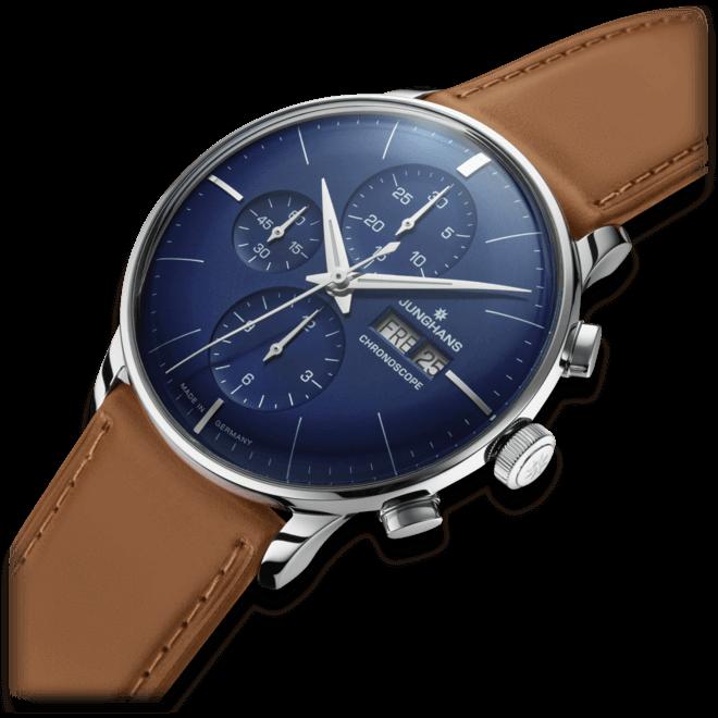 Herrenuhr Junghans Meister Chronoscope mit blauem Zifferblatt und Pferdeleder-Armband