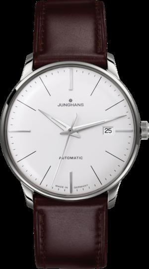 Herrenuhr Junghans Meister Classic mit silberfarbenem Zifferblatt und Pferdeleder-Armband