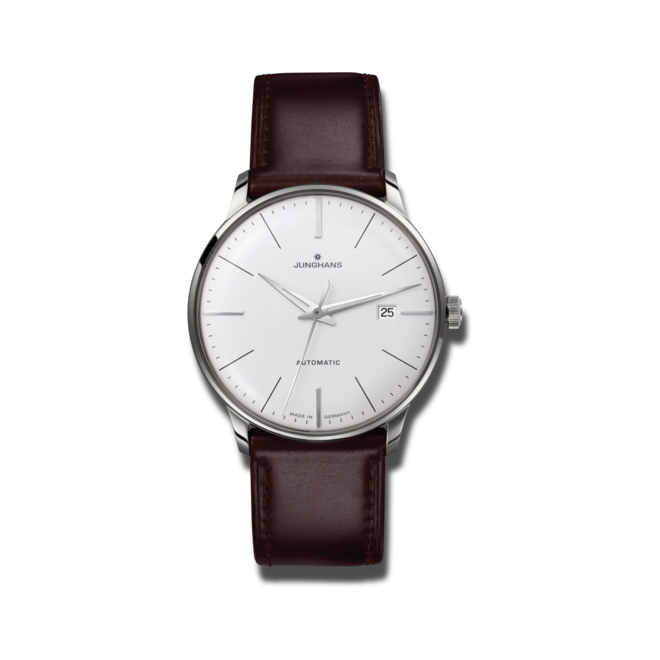 Herrenuhr Junghans Meister Classic mit silberfarbenem Zifferblatt und Pferdeleder-Armband bei Brogle