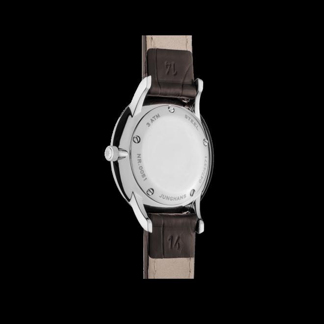 Damenuhr Junghans Meister Damen mit schwarzem Zifferblatt und Krokodilleder-Armband