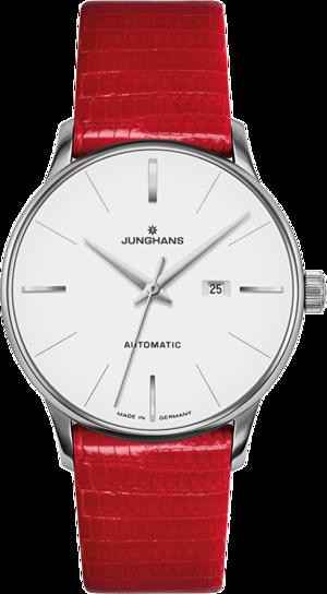 Damenuhr Junghans Meister Damen Automatic mit weißem Zifferblatt und Eidechsenleder-Armband