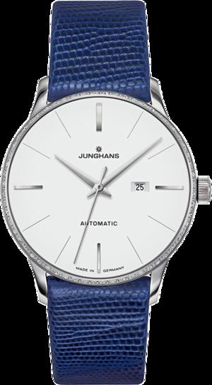 Damenuhr Junghans Meister Damen Automatic mit Diamanten, weißem Zifferblatt und Eidechsenleder-Armband