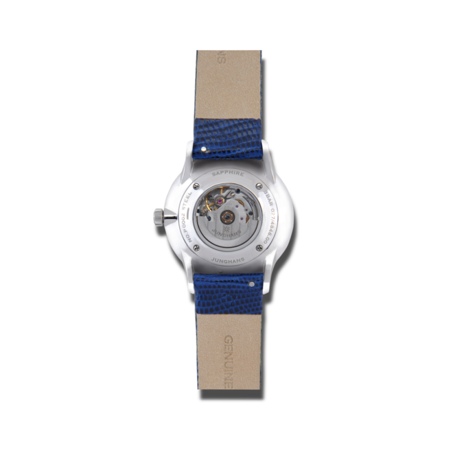 Damenuhr Junghans Meister Damen Automatic mit Diamanten, weißem Zifferblatt und Eidechsenleder-Armband bei Brogle