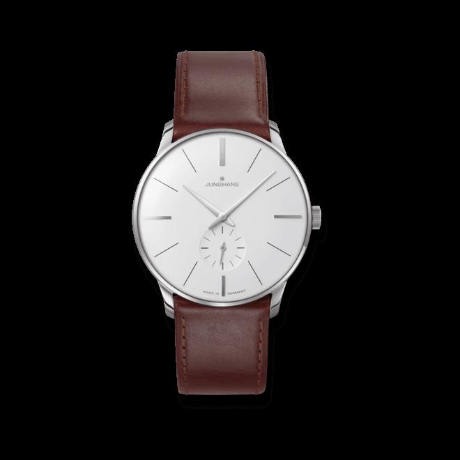 Herrenuhr Junghans Meister Handaufzug mit weißem Zifferblatt und Pferdeleder-Armband