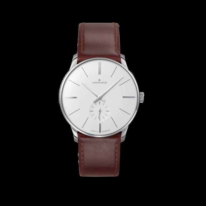 Armbanduhr Junghans Meister Handaufzug mit weißem Zifferblatt und Pferdeleder-Armband bei Brogle