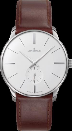 Armbanduhr Junghans Meister Handaufzug mit weißem Zifferblatt und Pferdeleder-Armband