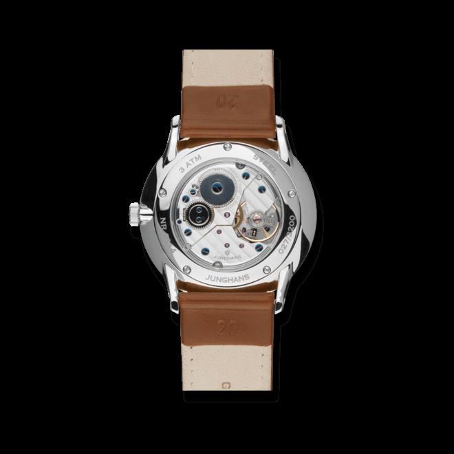 Armbanduhr Junghans Meister Handaufzug mit blauem Zifferblatt und Pferdeleder-Armband bei Brogle
