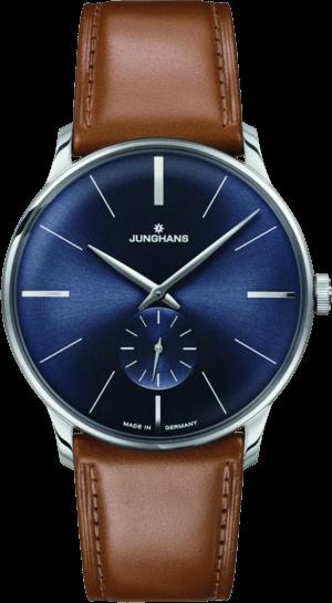 Armbanduhr Junghans Meister Handaufzug mit blauem Zifferblatt und Pferdeleder-Armband