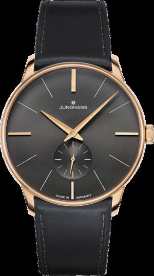 Armbanduhr Junghans Meister Handaufzug mit anthrazitfarbenem Zifferblatt und Krokodilleder-Armband