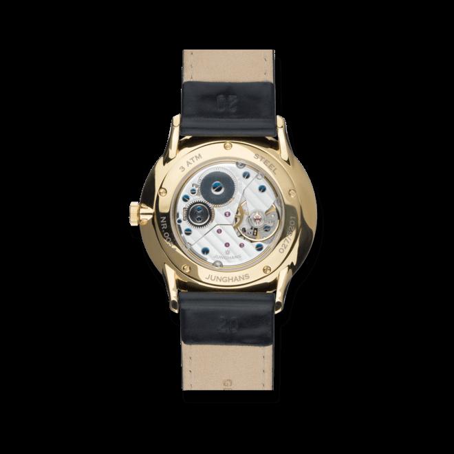 Armbanduhr Junghans Meister Handaufzug mit anthrazitfarbenem Zifferblatt und Krokodilleder-Armband bei Brogle