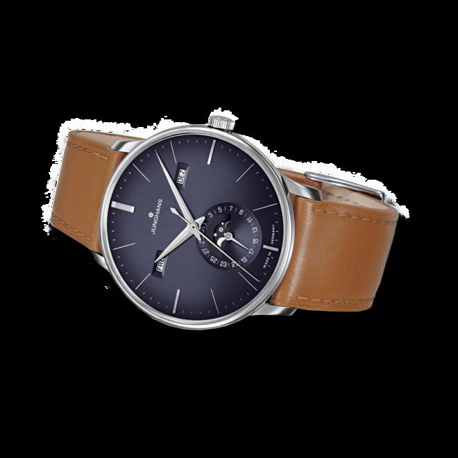 Herrenuhr Junghans Meister Kalender mit blauem Zifferblatt und Pferdeleder-Armband bei Brogle