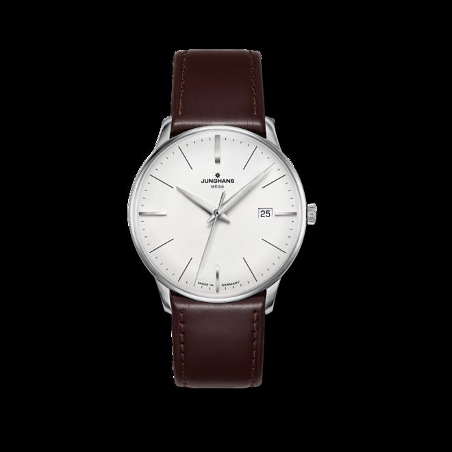 Armbanduhr Junghans Meister MEGA mit silberfarbenem Zifferblatt und Pferdeleder-Armband bei Brogle