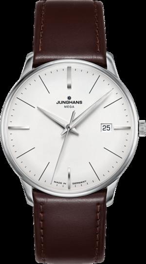 Armbanduhr Junghans Meister MEGA mit silberfarbenem Zifferblatt und Pferdeleder-Armband