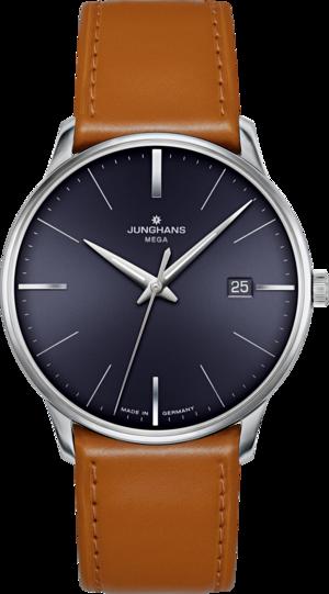 Armbanduhr Junghans Meister MEGA mit blauem Zifferblatt und Pferdeleder-Armband