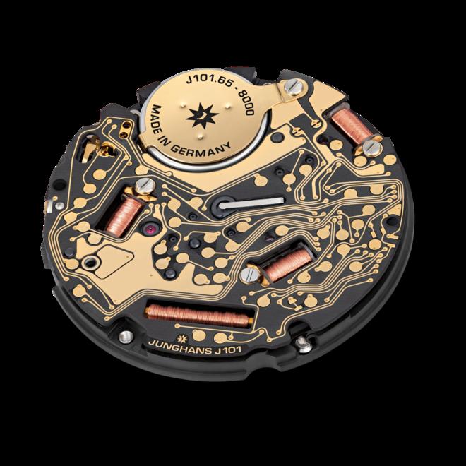 Armbanduhr Junghans Meister MEGA mit blauem Zifferblatt und Pferdeleder-Armband bei Brogle