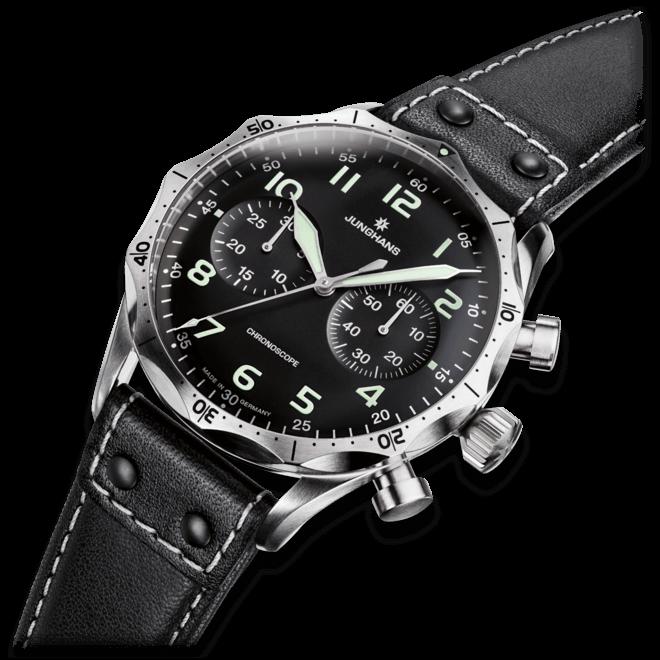Herrenuhr Junghans Meister Pilot mit schwarzem Zifferblatt und Rindsleder-Armband bei Brogle