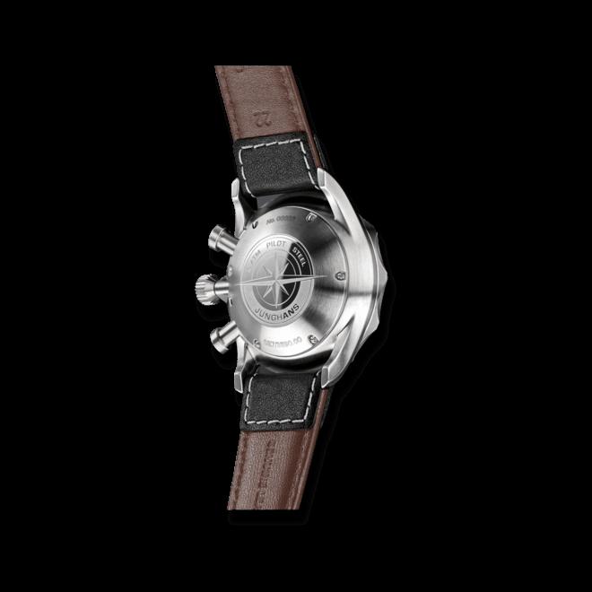 Herrenuhr Junghans Meister Pilot mit schwarzem Zifferblatt und Rindsleder-Armband