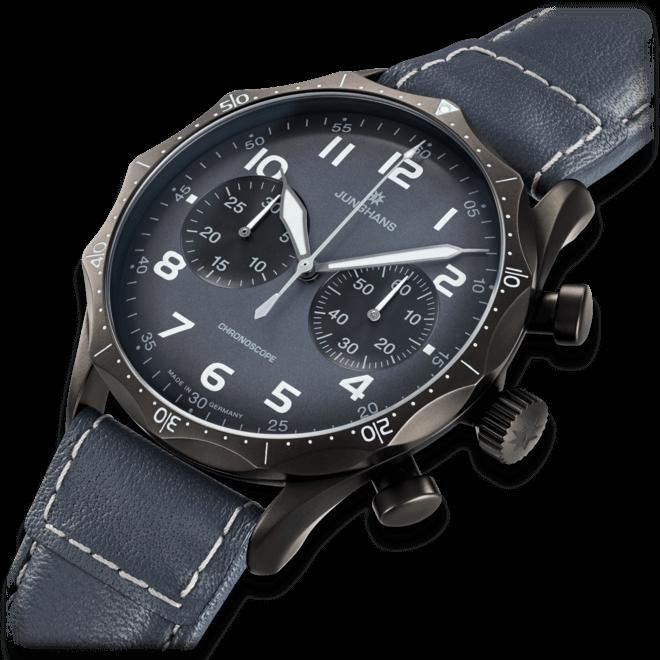 Herrenuhr Junghans Meister Pilot mit grauem Zifferblatt und Rindsleder-Armband bei Brogle