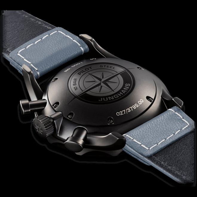 Herrenuhr Junghans Meister Pilot mit blauem Zifferblatt und Rindsleder-Armband