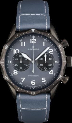 Herrenuhr Junghans Meister Pilot mit grauem Zifferblatt und Rindsleder-Armband