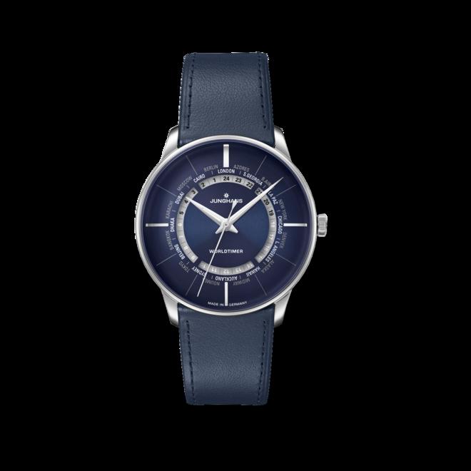 Herrenuhr Junghans Meister Worldtimer mit blauem Zifferblatt und Kalbsleder-Armband bei Brogle