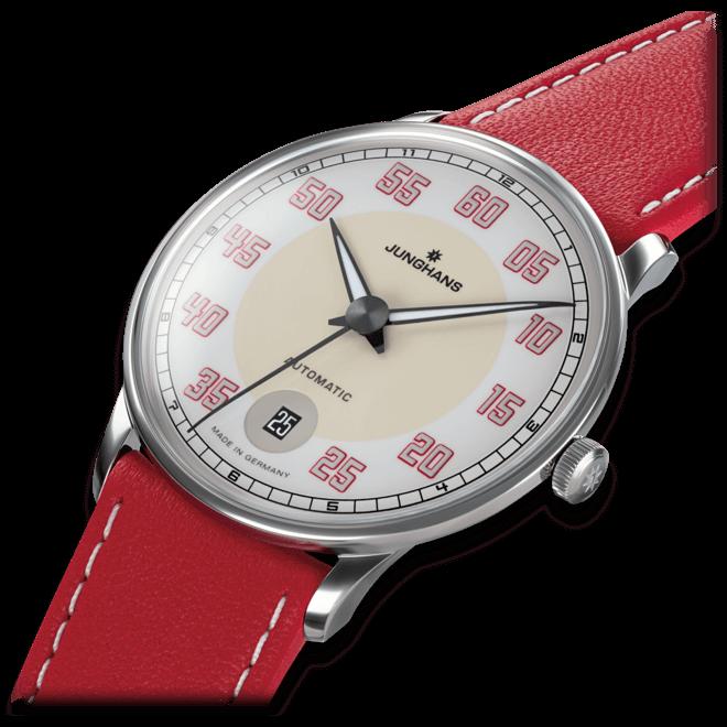 Armbanduhr Junghans Meister Driver Automatic mit cremefarbenem Zifferblatt und Kalbsleder-Armband bei Brogle
