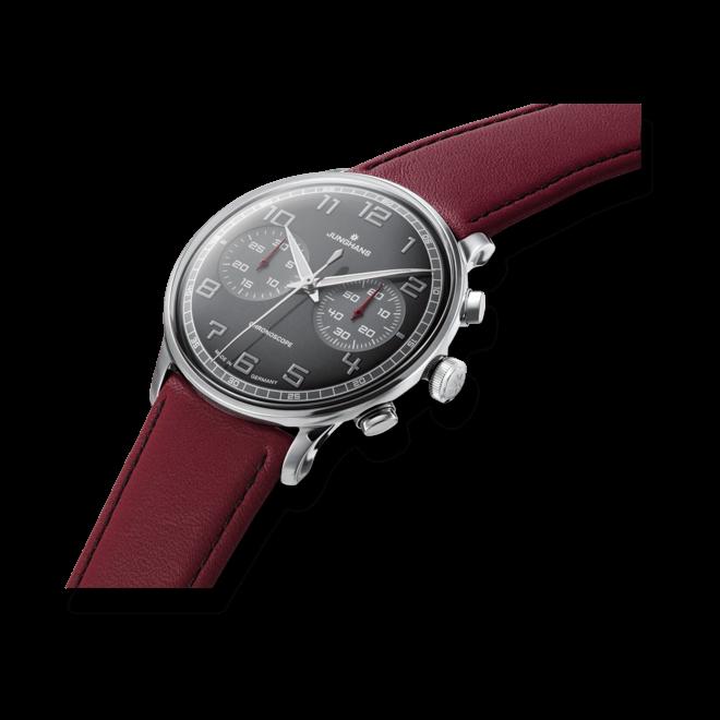 Herrenuhr Junghans Meister Driver Chronoscope mit schwarzem Zifferblatt und Kalbsleder-Armband bei Brogle