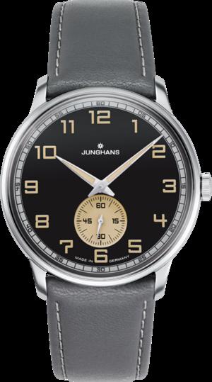 Armbanduhr Junghans Meister Driver Handaufzug mit schwarzem Zifferblatt und Kalbsleder-Armband