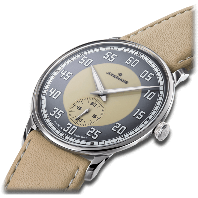 Armbanduhr Junghans Meister Driver Handaufzug mit sandfarbenem Zifferblatt und Kalbsleder-Armband bei Brogle