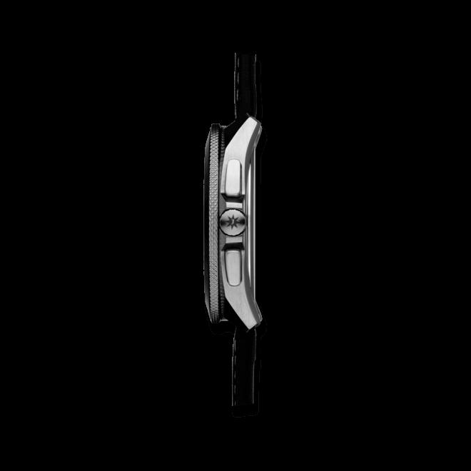Herrenuhr Junghans 1972 Mega Solar mit schwarzem Zifferblatt und Kalbsleder-Armband