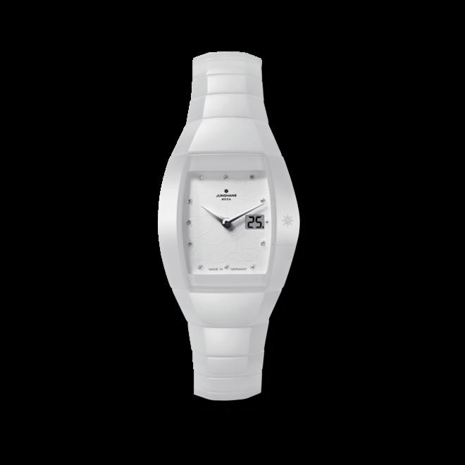 Damenuhr Junghans Aura Quadra mit Diamanten, weißem Zifferblatt und Keramikarmband