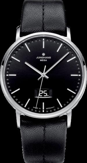 Herrenuhr Junghans Milano mit schwarzem Zifferblatt und Kalbsleder-Armband