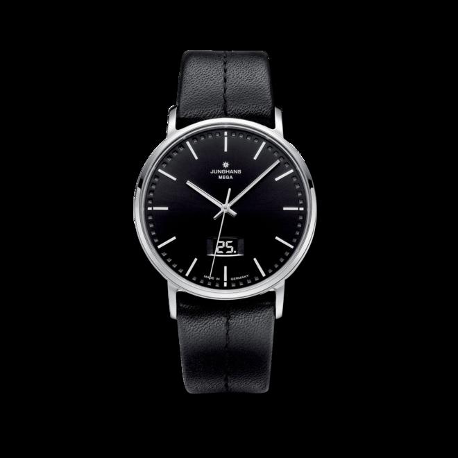 Herrenuhr Junghans Milano mit schwarzem Zifferblatt und Kalbsleder-Armband bei Brogle