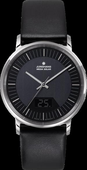 Herrenuhr Junghans Milano Mega Solar mit schwarzem Zifferblatt und Kalbsleder-Armband