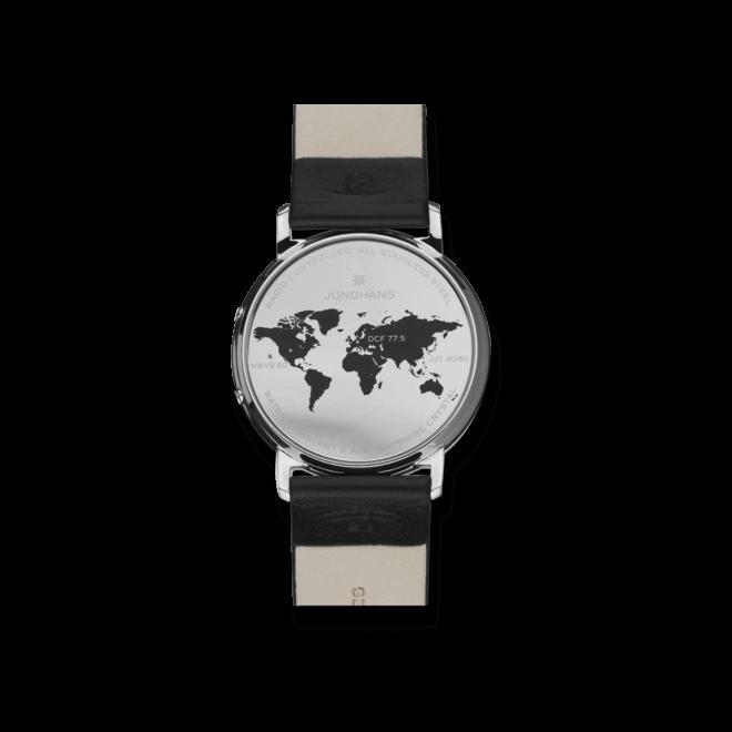 Herrenuhr Junghans Milano Mega Solar mit schwarzem Zifferblatt und Kalbsleder-Armband bei Brogle