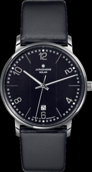 Herrenuhr Junghans Milano Solar mit schwarzem Zifferblatt und Kalbsleder-Armband
