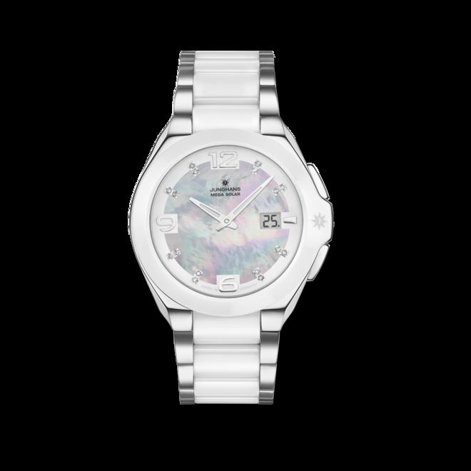 Damenuhr Junghans Spektrum Damen mit Diamanten, mehrfarbigem Zifferblatt und Edelstahlarmband bei Brogle