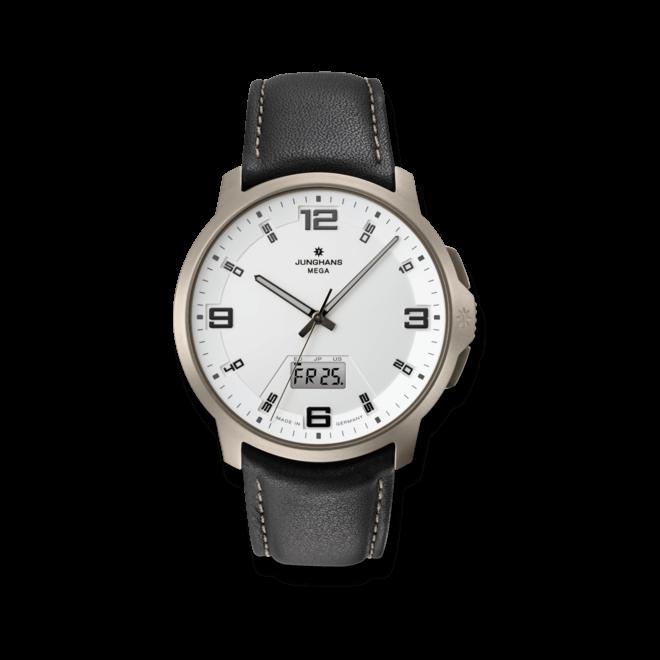 Herrenuhr Junghans Voyager Mega MF mit silberfarbenem Zifferblatt und Kalbsleder-Armband